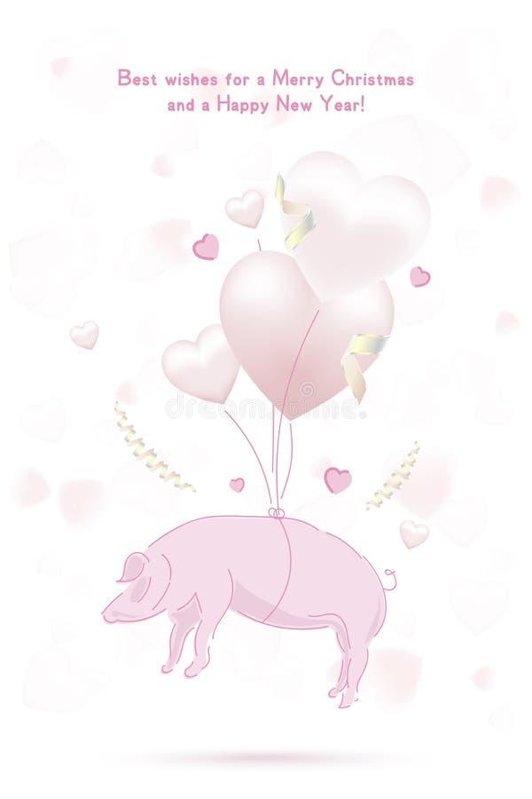 新年好2019年明信片与桃红色猪黄道带标志和与以心脏的形式气球在与丝带的背景 平的ve 库存例证
