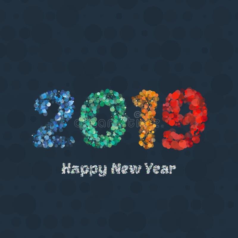 新年好2019年背景 日历装饰 2007个看板卡招呼的新年好 中国日历模板年猪 库存例证