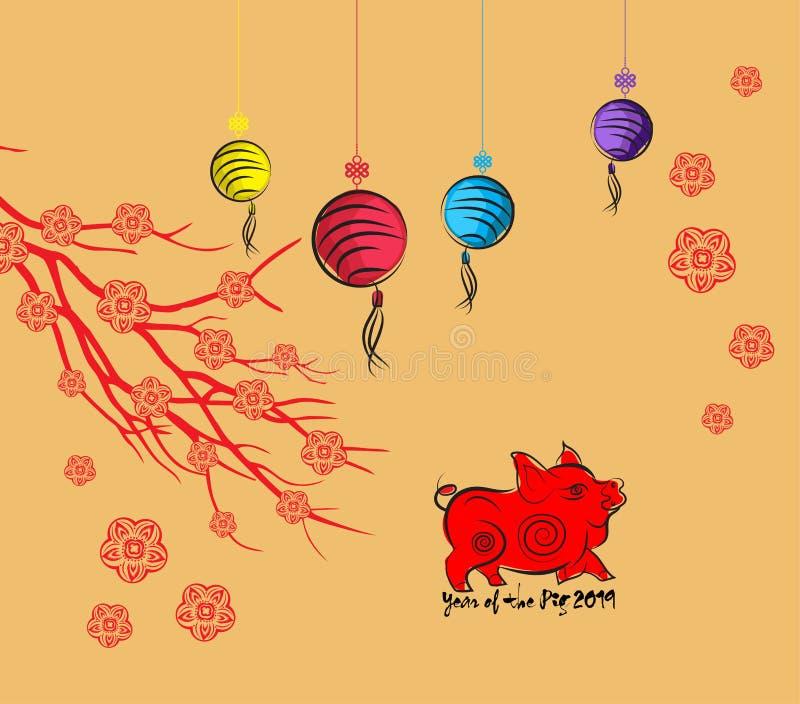 新年好2019年贺卡和猪的春节,樱花背景图片