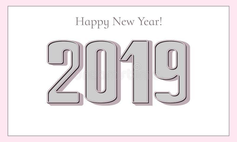 新年好2019年贺卡 典雅的3D数字 库存照片