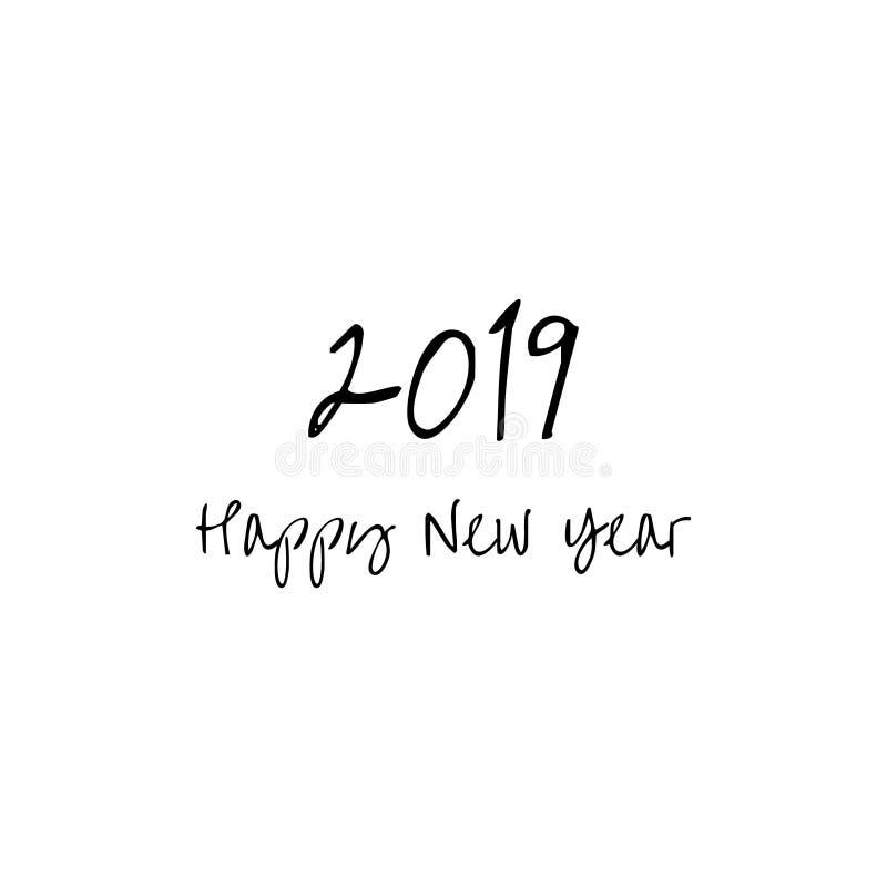 新年好2019年贺卡 词新年快乐被隔绝 库存例证
