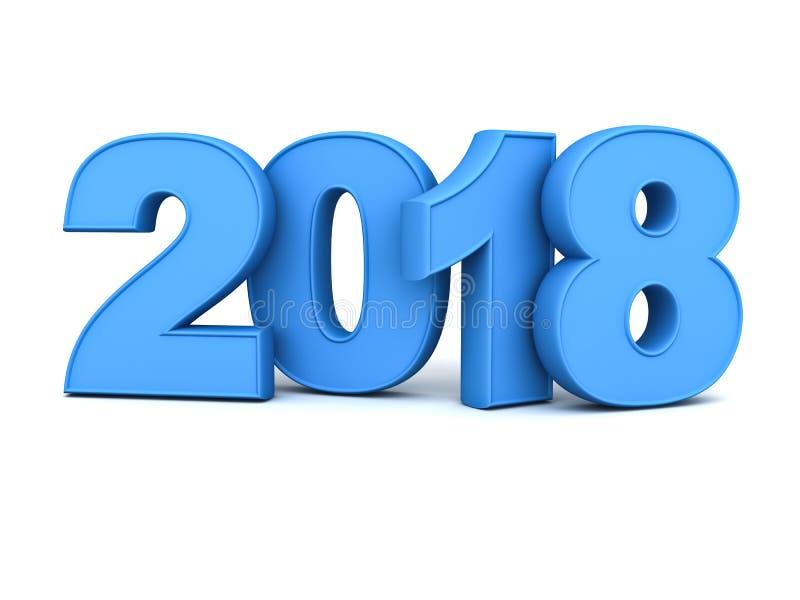 新年好2018年, 3D蓝色文本被隔绝在与反射的白色背景和阴影 向量例证