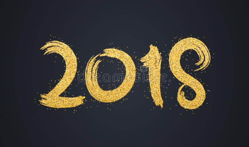 新年好2018年 金黄闪烁的数字在黑暗的背景的 金黄沙子 横幅的抽象背景 难看的东西styl 皇族释放例证