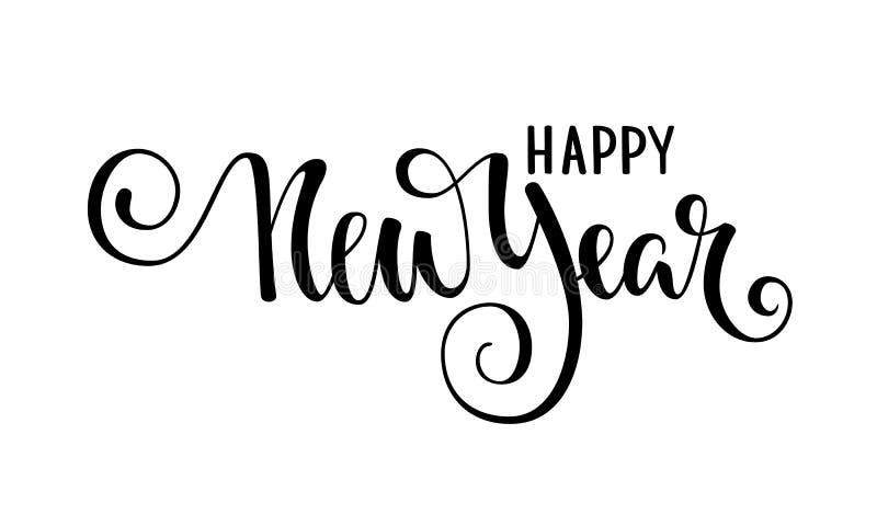 新年好 手拉的创造性的书法,刷子笔字法 设计假日快活的克里斯的贺卡和邀请 皇族释放例证