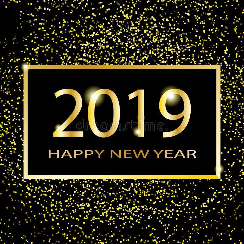 新年好2019文本设计 传染媒介与金黄数字和闪闪发光的问候例证在黑暗的背景 向量例证