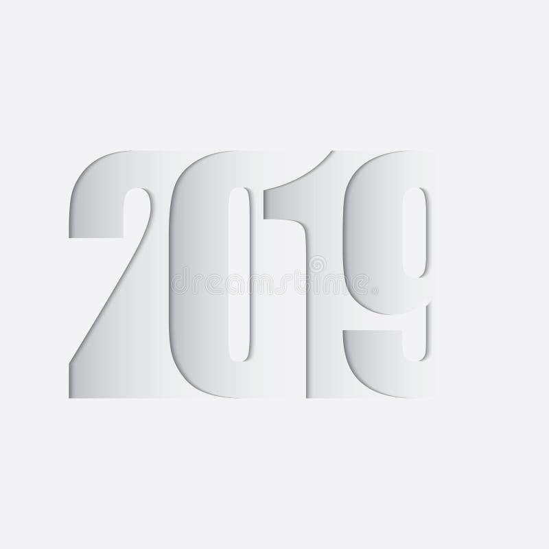 新年好 2019文本 库存例证