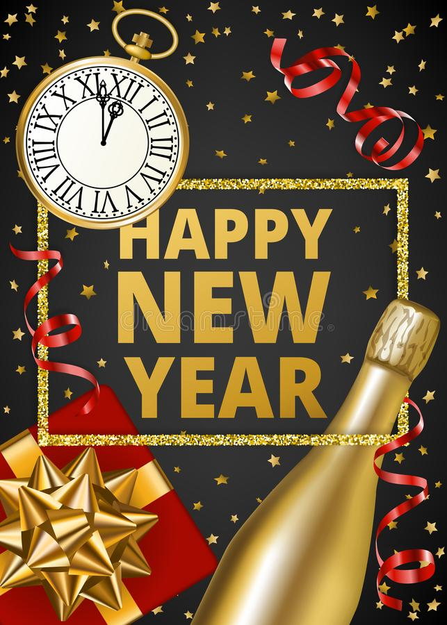 Download 新年好 向量例证. 插画 包括有 颜色, 纸张, 问候, 金黄, 愉快, 节假日, 庆祝, 金子, 午夜 - 104847914