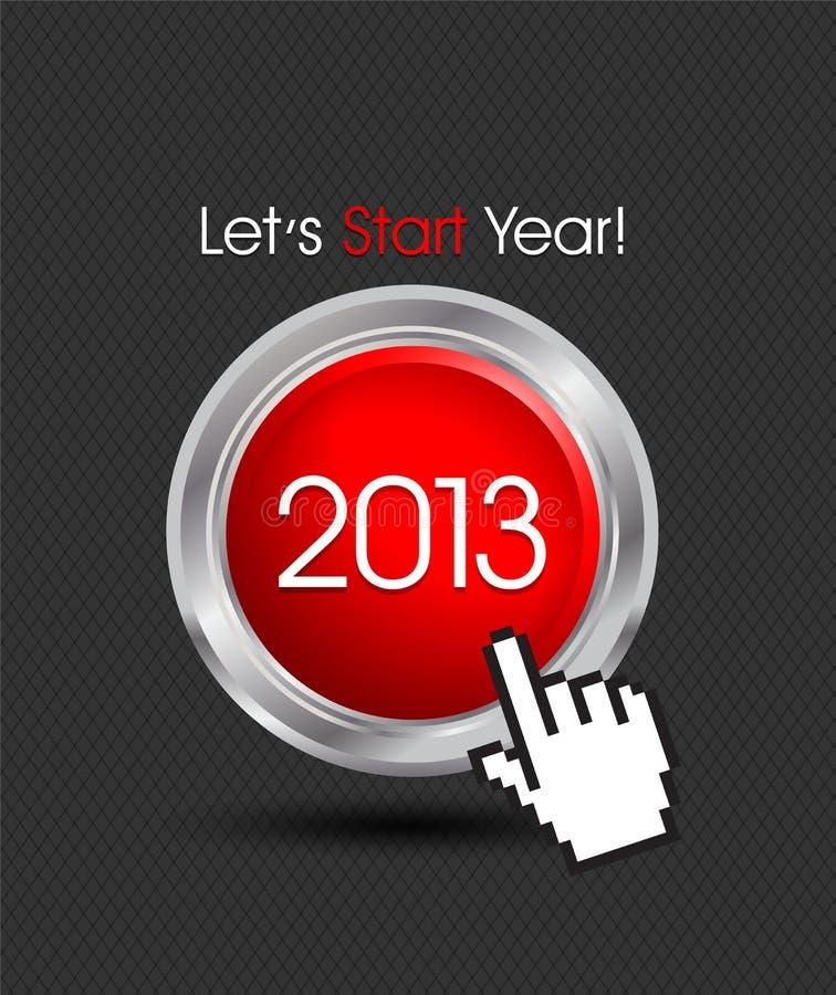 新年好2013按钮 皇族释放例证