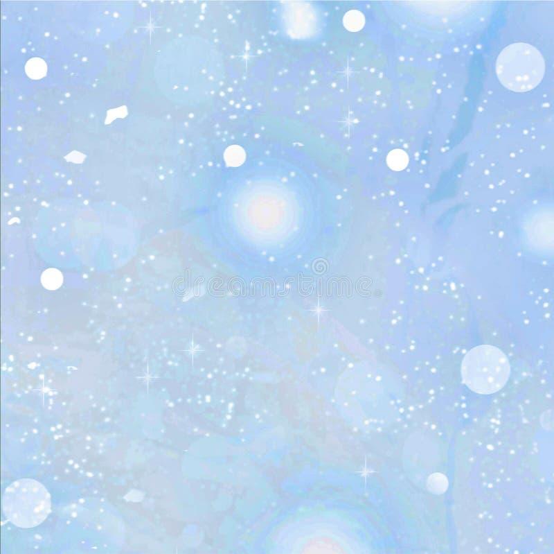 新年度 圣诞节 与落的雪的软的蓝色背景 向量例证