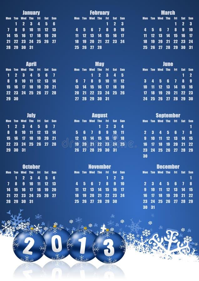 新年度2013日历 向量例证