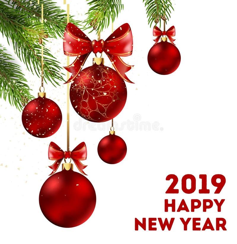 新年快乐与云杉的分支的2019个假日海报 库存例证