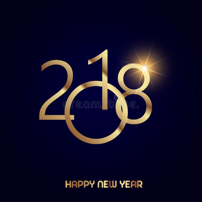 新年快乐与光亮的金文本的贺卡在黑背景 2018传染媒介 向量例证