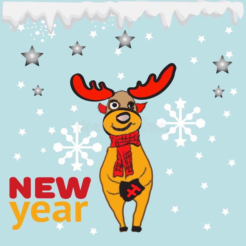 新年快乐与凉快的驯鹿和新年传染媒介的贺卡或海报设计 库存例证