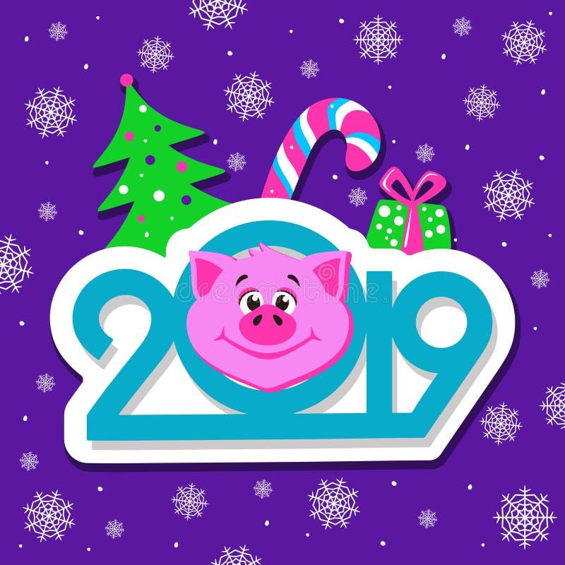 新年快乐与动画片猪面孔的贺卡设计在紫罗兰色背景图片