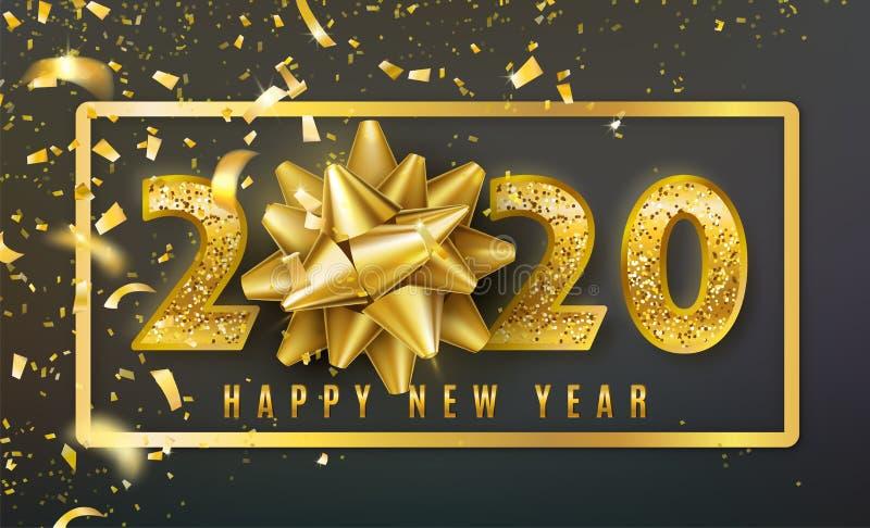 2020新年快乐与金黄礼物弓、五彩纸屑、发光的闪烁金子数字和边界的传染媒介背景 r 向量例证