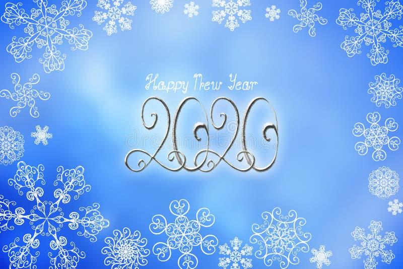 2020新年快乐与银色数字和字法的横幅例证 库存例证