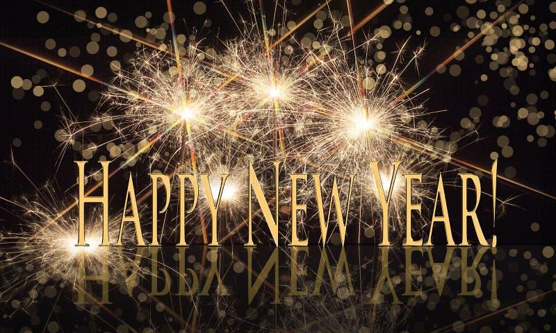 新年快乐与闪烁发光物的金文本 库存例证