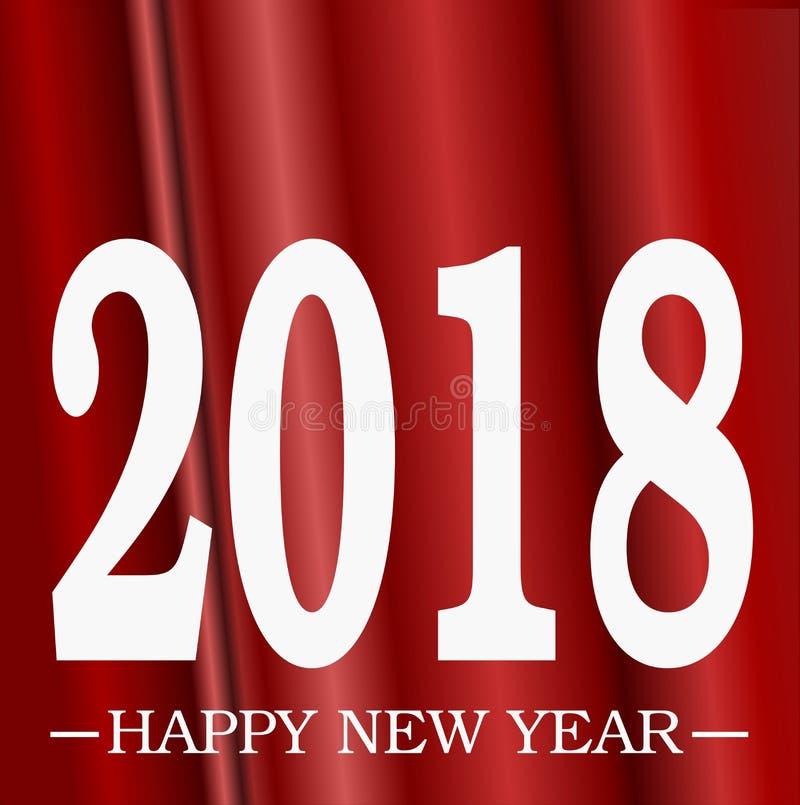 新年快乐与3D红色帷幕背景幻觉作用例证梯度3D幻觉空间的2018年招呼的白色 库存例证