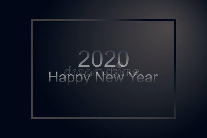 新年快乐优质银色样式水平的海报 黑表面无光泽的公司横幅,与框架,假日邀请的党飞行物 皇族释放例证