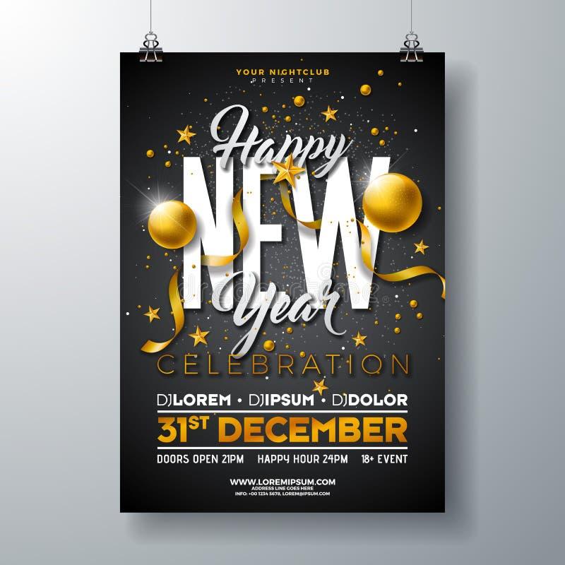 新年快乐党庆祝海报与金玻璃球的模板例证和在黑色的印刷术设计 皇族释放例证