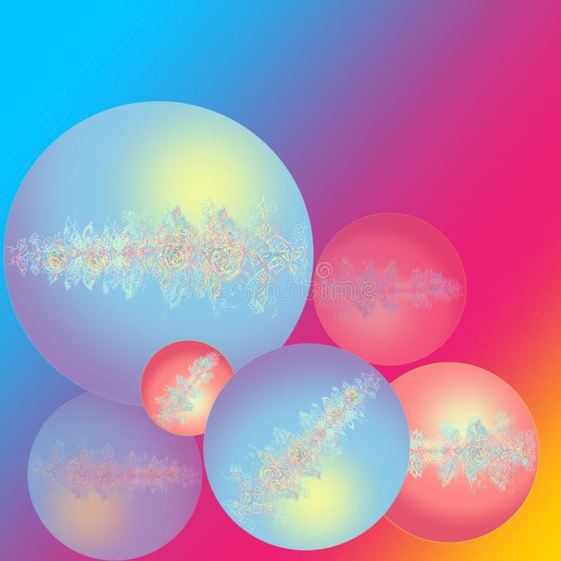 新年快乐卡片 与花和透雕细工图象的圣诞节球 被弄脏的背景彩虹 E 皇族释放例证