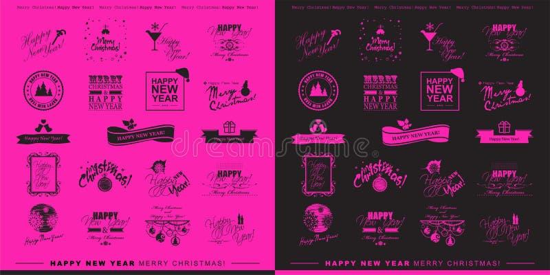 新年快乐和圣诞快乐时髦和minimalistic typog 皇族释放例证