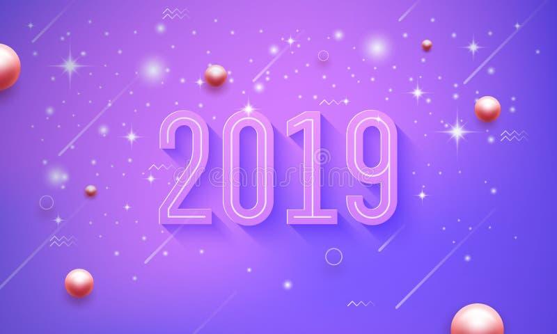 2019新年快乐在与发光小星的紫色,桃红色传染媒介背景中 皇族释放例证
