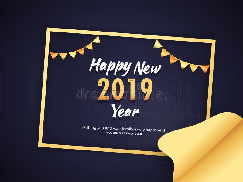 新年快乐在蓝色的海报或横幅设计 可以是用途 库存例证