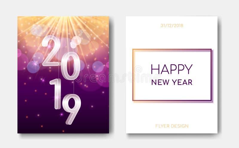 新年快乐夜与银色3D第2019年,星爆炸焕发,火花的飞行物横幅闪烁发光,轻的闪光  皇族释放例证