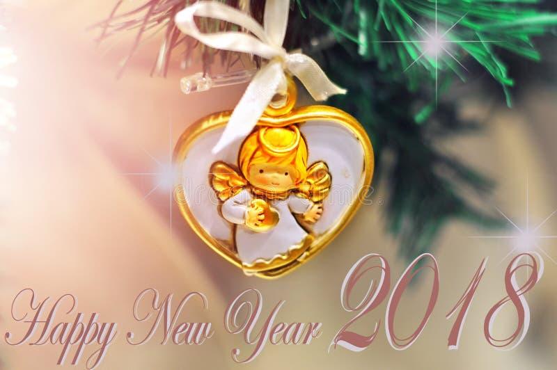 新年快乐您的贺卡的背景设计,飞行物,邀请,海报,小册子,横幅,日历 免版税库存照片