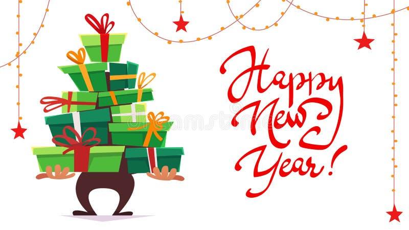 新年快乐明信片问候党邀请,全部许多礼物盒礼物堆三角立场与ri的圣诞树形式 皇族释放例证