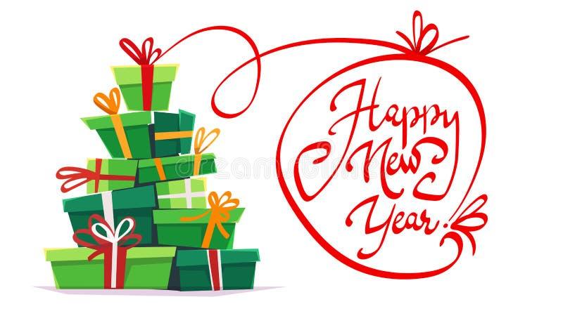 新年快乐明信片问候党邀请,全部许多礼物盒礼物堆三角立场与ri的圣诞树形式 向量例证