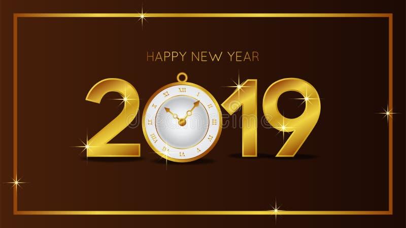 新年快乐横幅与金子数字和经典时钟的背景模板 也corel凹道例证向量 库存例证