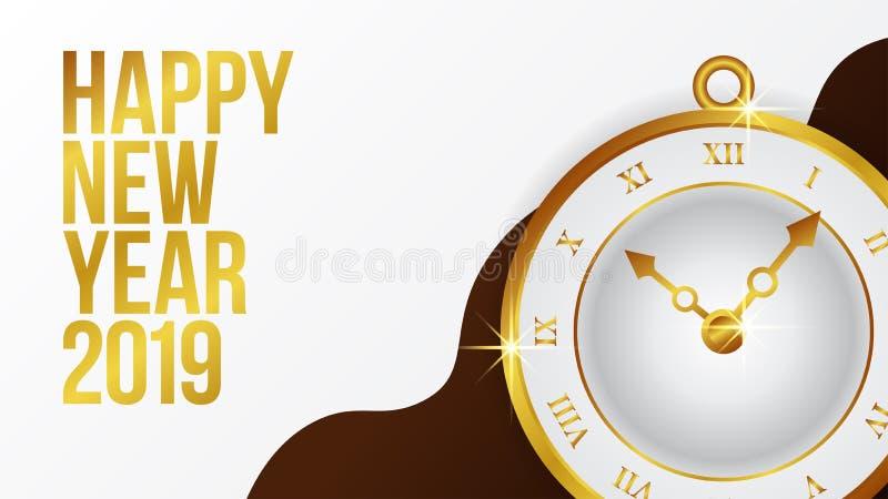 新年快乐横幅与金经典时钟的背景模板 也corel凹道例证向量 皇族释放例证