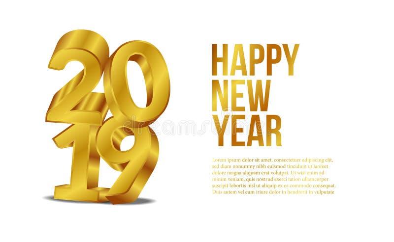 新年快乐横幅与3d金子数字的背景模板 也corel凹道例证向量 库存例证