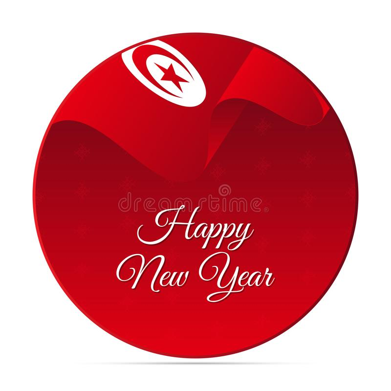 新年快乐横幅或贴纸 突尼斯挥动的旗子 背景装饰设计图象例证雪花向量 也corel凹道例证向量 库存例证
