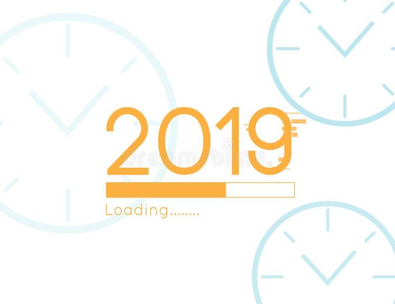 新年快乐装载的进展很快2019传染媒介例证有时钟背景 向量例证