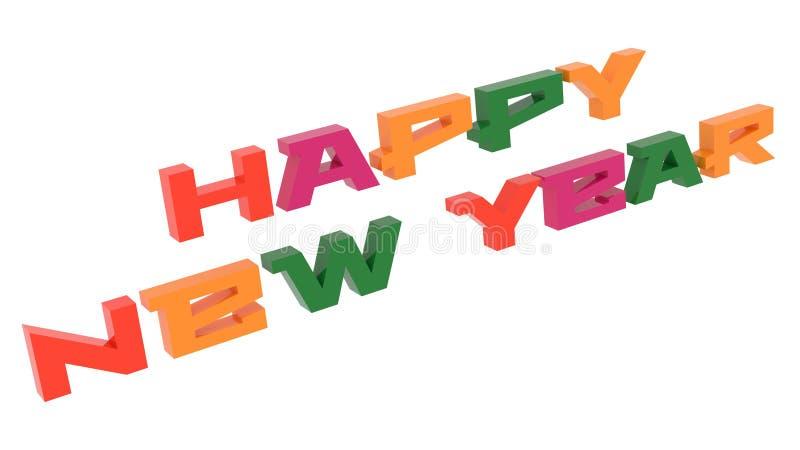 新年快乐词3D回报了与Techno的祝贺文本,未来派,地铁色的字体例证 皇族释放例证