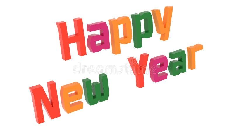 新年快乐词3D回报了与Techno的祝贺文本,老牌字体例证上色与四联体的颜色6度 库存例证