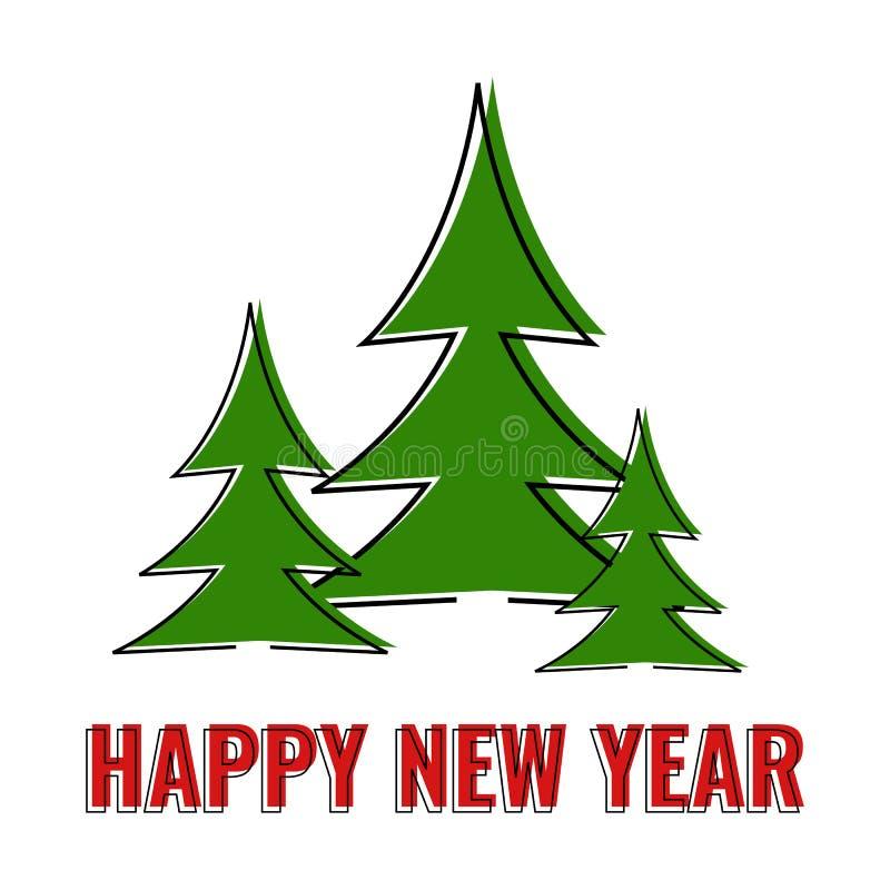 新年快乐贺卡,三绿色圣诞树 向量例证