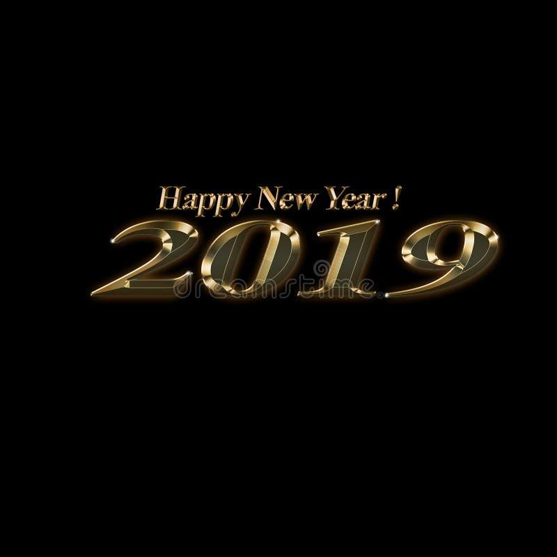 新年快乐金子反对黑背景的样式文本 库存例证