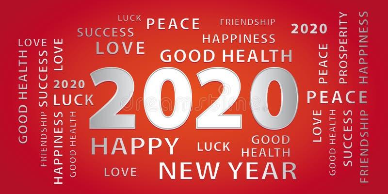 2020新年快乐银色和红色横幅 向量例证