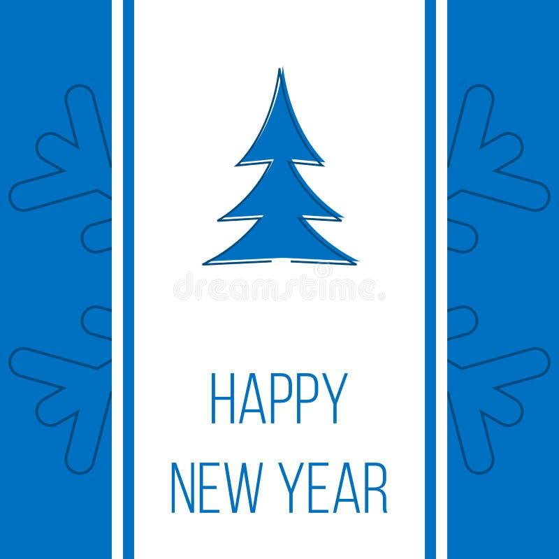 新年快乐,蓝色贺卡 库存例证