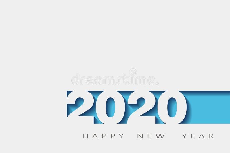 2020新年快乐,鼠的年,设计3d,例证,分层了堆积现实,为横幅,海报飞行物 皇族释放例证