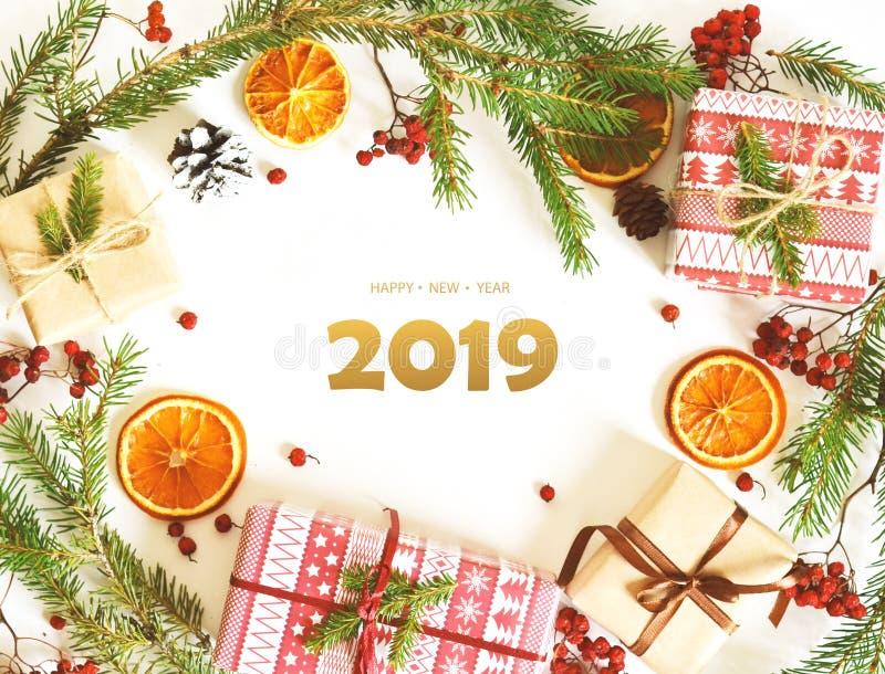 新年快乐, 2019年 圣诞节装饰装饰新家庭想法 免版税库存图片