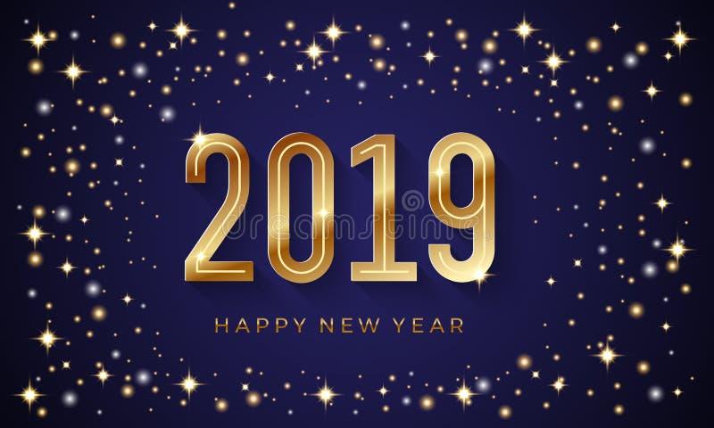 新年快乐2019与发光的星和金黄数字的传染媒介背景 皇族释放例证