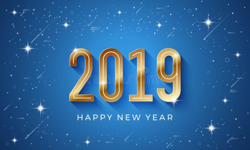 新年快乐2019与发光的星的传染媒介背景和金黄数字在蓝色背景中 向量例证