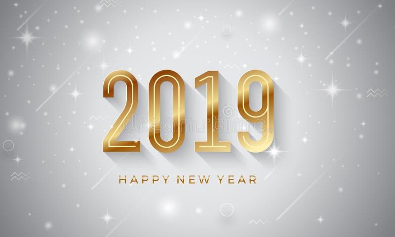 新年快乐2019与发光的星的传染媒介背景 向量例证