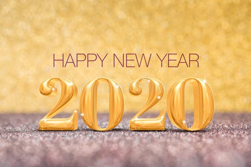 新年快乐2020个年在闪耀的数字3d翻译金黄和红色铜闪烁地板演播室背景,假日 库存例证