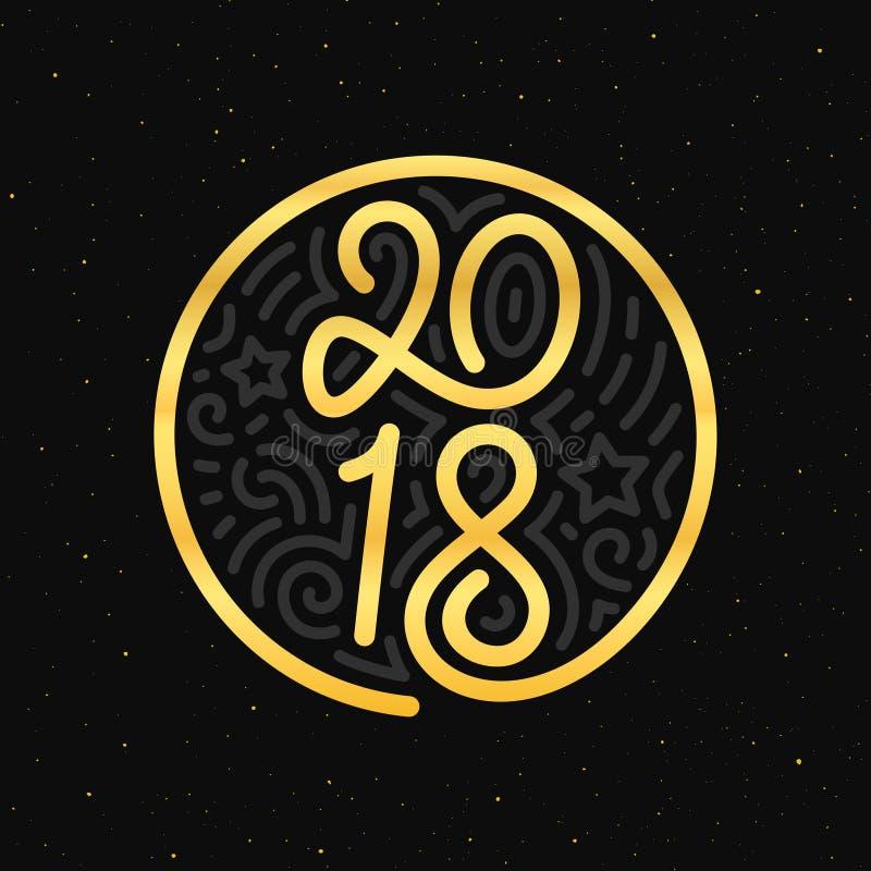新年快乐2018传染媒介贺卡设计 库存例证